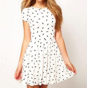 ASOS duck print short sleeve skater dress